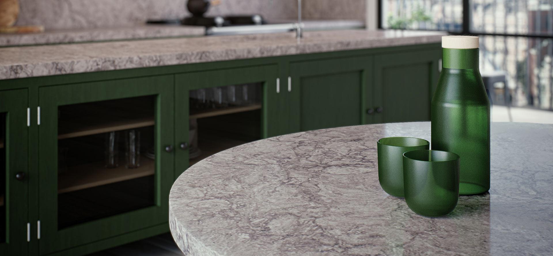 6313 turbine grey caesarstone artistic granite and for Cost of caesarstone countertops